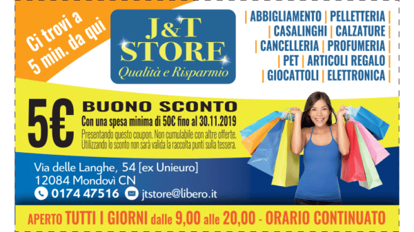 coupon sconto 5 euro da j&T store