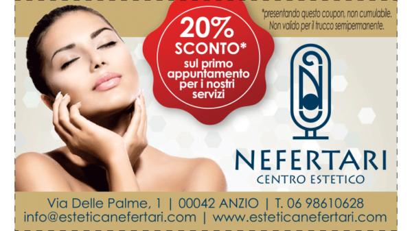 buono sconto del 20% al centro estetico Nefertari ad Anzio