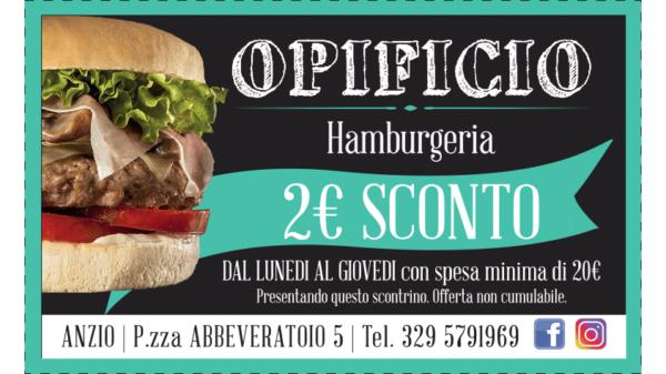 voucher sconto 2 euro opificio hamburgeria anzio